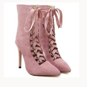 4 inch faux suade heeled pink gladiator booties